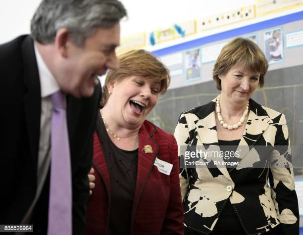 Prime Minister Gordon Brown Emily Thornberry MP for Islington South and Finsbury and Deputy Labour Party Leader Harriet Harman during a visit to the...