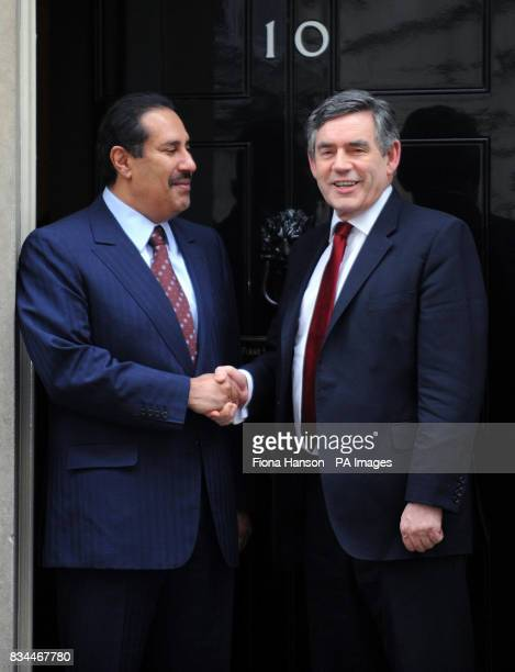 Prime Minister Gordon Brown greets the Prime Minister of Qatar Sheikh Abdullah Bin Khalifa AlThani at 10 Downing Steet London