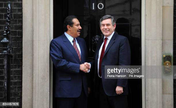 Prime Minister Gordon Brown greets the Prime Minister of Qatar Sheikh Abdullah Bin Khalifa AlThani at 10 Downing Street London