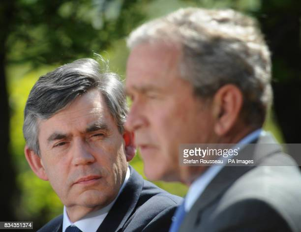 Prime Minister Gordon Brown holds a joint news conference with American President George Bush in the Rose Garden at the White House in Washington...
