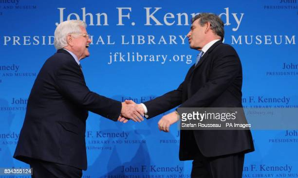 Prime Minister Gordon Brown is welcomed by Senator Edward Kennedy before delivering a speech at the John F Kennedy Library in Boston today to an...