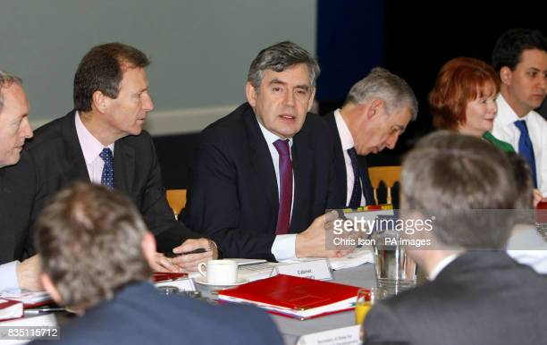Prime Minister Gordon Brown Justice Minister Jack Straw and Communities Secretary Hazel Blears during a Cabinet meeting at City Terminal in...