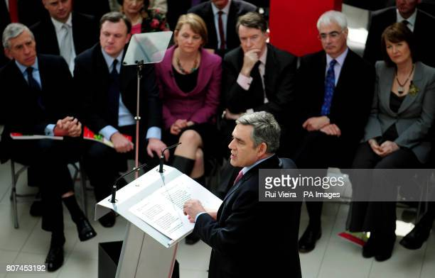 Prime Minister Gordon Brown launches Labour's manifesto for the May 6th General Election as Jack Straw Ed Balls Yvette Cooper Lord Mandelson Alistair...