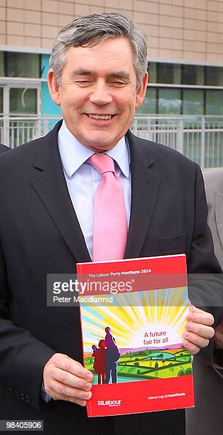 Prime Minister Gordon Brown launches the Labour Party election manifesto at The Queen Elizabeth Hospital on April 12 2010 in Birmingham England The...