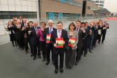 Prime Minister Gordon Brown launches the Labour Party election manifesto alongside cabinet members holding memory sticks containing the manifesto at...