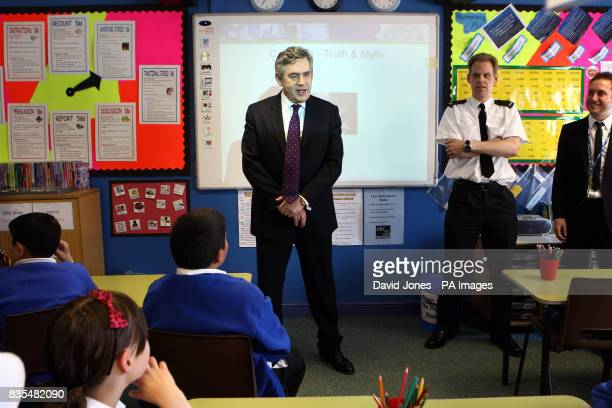 Prime Minister Gordon Brown listens to a lecture on drug abuse in a class at Anglesey Primary School Burton on Trent