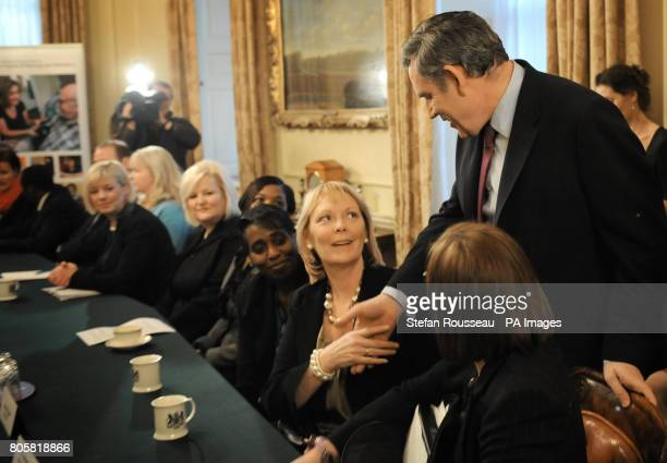 Prime Minister Gordon Brown meets nurses in the cabinet room in Downing Street London where he discussed the future of nursing and midwifery with them