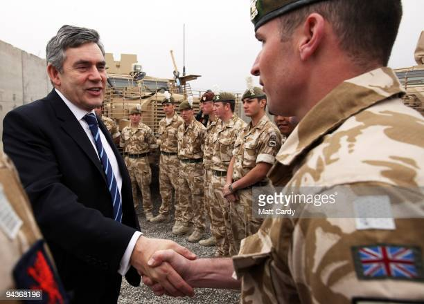 Prime Minister Gordon Brown meets with British troops from 1 Royal Welsh at the Kandahar Airbase on December 13 2009 in Kandahar Afghanistan Gordon...