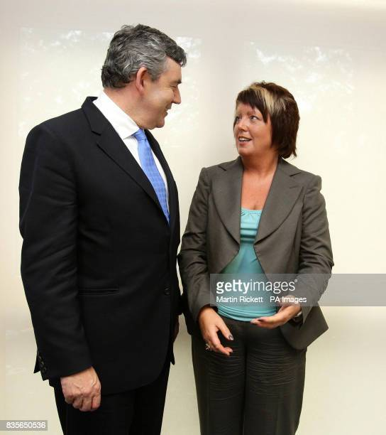 Prime Minister Gordon Brown meets with Helen Newlove wife of murdered Garry Newlove during his visit to Rolls Cresent Primary School in Hulme...
