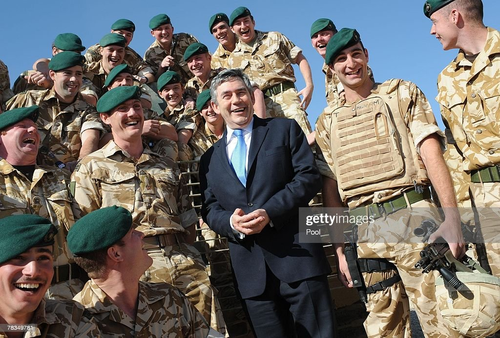 Prime Minister Gordon Brown meets with troops at Camp Bastion on December 10 2007 in Afghanistan In his two day visit to the middle east Brown...