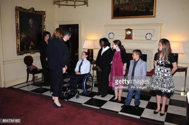 Prime Minister Gordon Brown Sarah Brown and Natasha Kaplinsky meet the five finalists of 'Britain's Kindest Kids' during a photocall at 10 Downing...