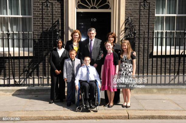 Prime Minister Gordon Brown Sarah Brown and Natasha Kaplinsky meet the five finalists of 'Britain's Kindest Kids' Tara Ifill 14 from Bermondsey in...
