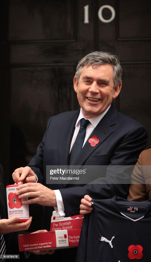 Gordon Brown Meets Scottish Poppy Appeal Soldier