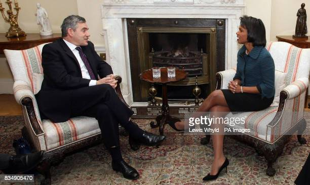 Prime Minister Gordon Brown speaks with US Secretary of State Condoleezza Rice at 10 Downing Street central London