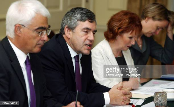 Prime Minister Gordon Brown with Chancellor Alistair Darling Communities Secretary Hazel Blears and Chief Secretary to the Treasury Yvette Cooper at...