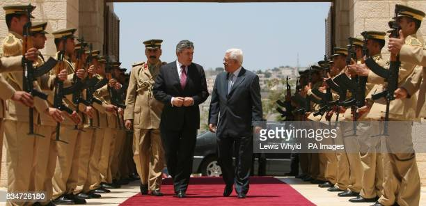 Prime Minister Gordon Brown with Palestinian President Mahmoud Abbas at the Presidential Palace in Bethlehem in the Palestinian Territories