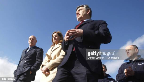Prime Minister Gordon Brown with wife Sarah Brown during a tour of facilities at the Michelin factory in Dundee ahead of his speech to the Scottish...