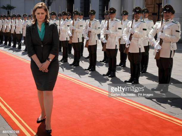 Prime Minister Gordon Brown's wife Sarah arrives at the Palacio de la Monela in Santiago where she and her husband were greeted by Chilean President...