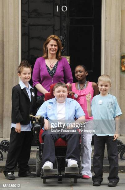 RIGHT Prime Minister Gordon Brown's wife Sarah Brown poses with children from the 'Make a Wish Foundation UK' from left Zack Sinclair from Eastbourne...