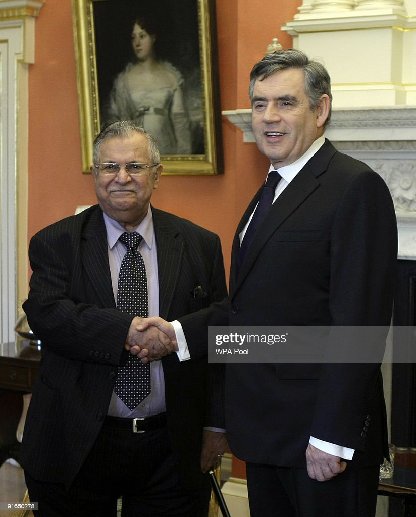 Prime Minister Gordon shakes hands with Iraqi President <a gi-track='captionPersonalityLinkClicked' href=/galleries/search?phrase=Jalal+Talabani&family=editorial&specificpeople=213582 ng-click='$event.stopPropagation()'>Jalal Talabani</a> ahead of their meeting, in Downing Street on October 9, 2009 in London. Later Prime Minister Brown will attend a service of thanksgiving honouring UK armed forces and civilians who served and died in the Iraq war.