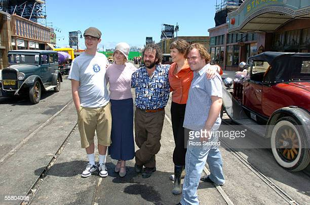 Prime Minister Helen Clark second from right with stars of the movie King Kong Colin Hanks left Naomi Watts director Peter Jackson and Jack Black on...