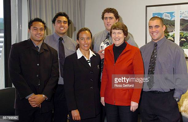 Prime Minister Helen Clark with Ben Atiga captain New Zealand Under 21 left Liam Messam captain New Zealand Sevens Farah Palmer captain Black Ferns...