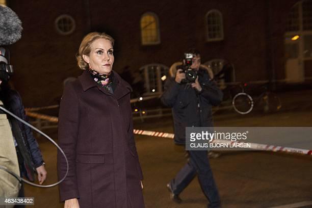Prime Minister Helle Thorning Schmidt arrives at a cultural centre Krudttonden in Copenhagen Denmark where shots were fired during a debate on Islam...