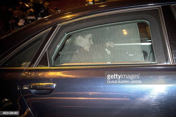 Prime Minister Helle Thorning Schmidt leaves by car a cultural centre Krudttonden in Copenhagen Denmark where shots were fired during a debate on...