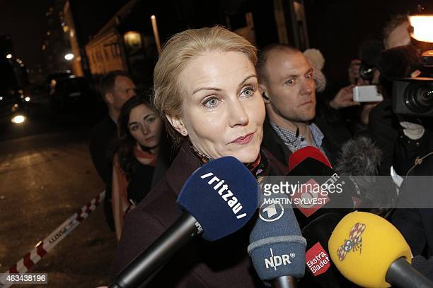 Prime Minister Helle Thorning Schmidt speaks to journalists at a cultural centre Krudttonden in Kanonhallen in Oesterbro a district of Copenhagen...