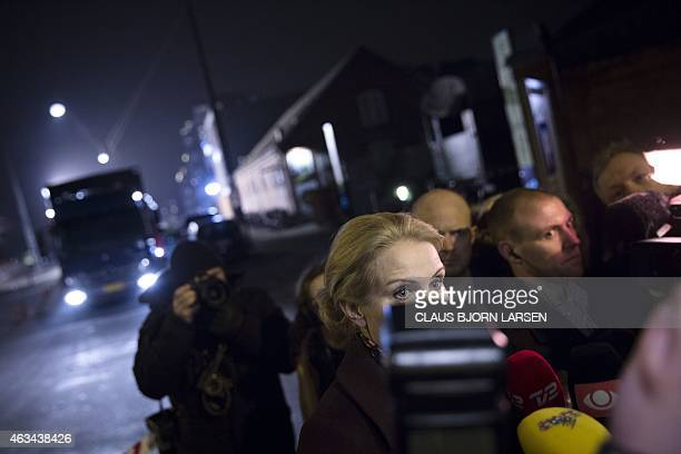 Prime Minister Helle Thorning Schmidt speaks to journalists at a cultural centre Krudttonden in Copenhagen Denmark where shots were fired during a...
