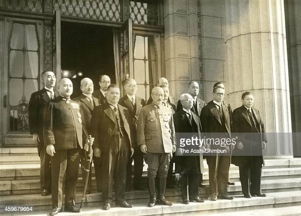 Prime Minister Hideki Tojo and his cabinet members pose for photographs at Tojo's official residence on October 18 1941 in Tokyo Japan