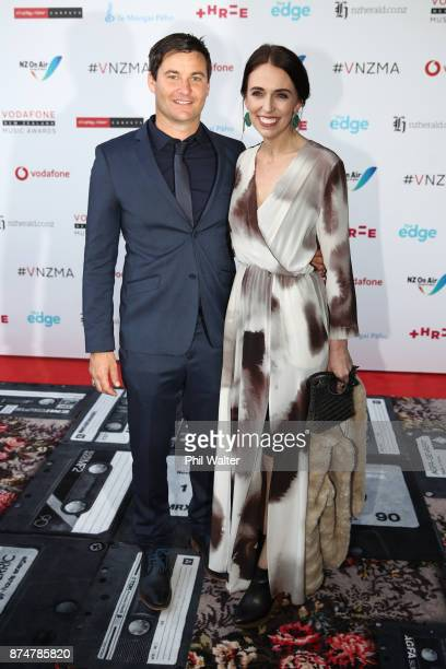 Prime Minister Jacinda Ardern and partner Clarke Gayford arrive for the 2017 Vodafone New Zealand Music Awards on November 16 2017 in Auckland New...