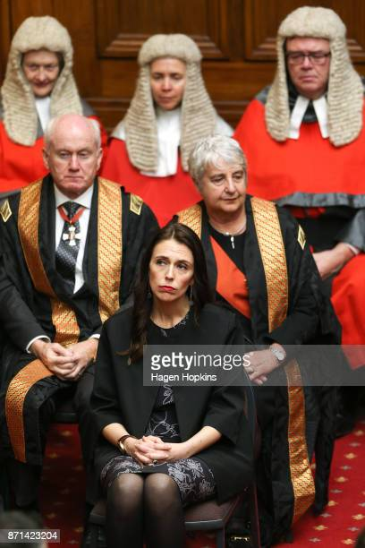 Prime Minister Jacinda Ardern Chief Justice Dame Sian Elias and Sir Mark O'Regan look on during the State Opening of Parliament on November 8 2017 in...