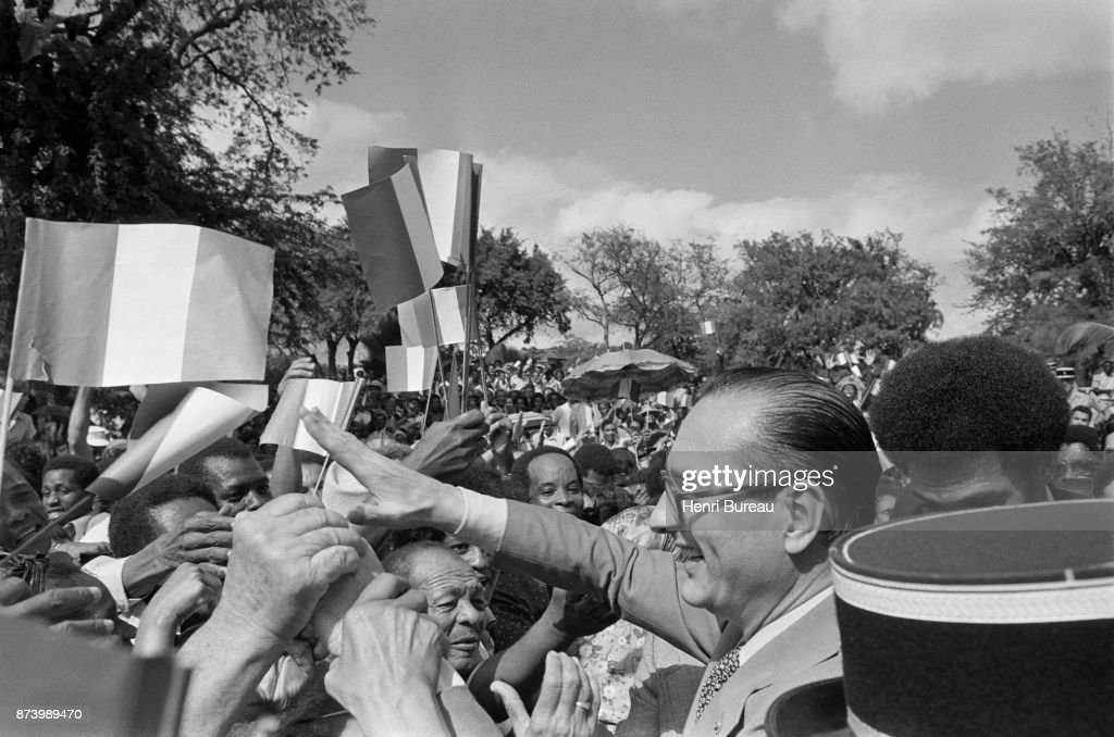 Prime Minister Jacques Chirac received a colorful welcome at Bouillante, 22nd December 1975