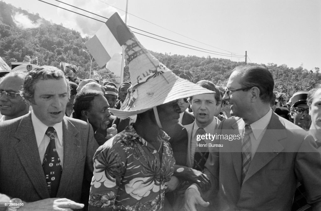 Prime Minister Jacques Chirac received a particularly warm welcome on his arrival at Fort-de-France, 22nd December 1975