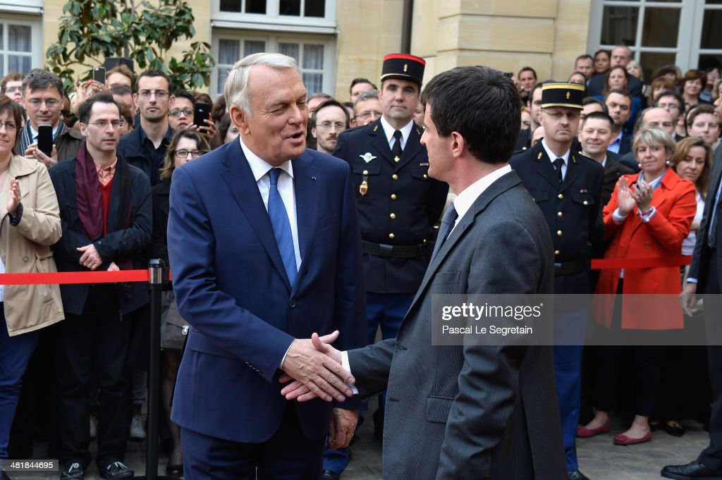 Prime minister <a gi-track='captionPersonalityLinkClicked' href=/galleries/search?phrase=Jean-Marc+Ayrault&family=editorial&specificpeople=551961 ng-click='$event.stopPropagation()'>Jean-Marc Ayrault</a> (L) and France's newly appointed Prime minister <a gi-track='captionPersonalityLinkClicked' href=/galleries/search?phrase=Manuel+Valls&family=editorial&specificpeople=2178864 ng-click='$event.stopPropagation()'>Manuel Valls</a> (R) attend the take over ceremony, while power is transferred to <a gi-track='captionPersonalityLinkClicked' href=/galleries/search?phrase=Manuel+Valls&family=editorial&specificpeople=2178864 ng-click='$event.stopPropagation()'>Manuel Valls</a> after the resignation of French Prime minister <a gi-track='captionPersonalityLinkClicked' href=/galleries/search?phrase=Jean-Marc+Ayrault&family=editorial&specificpeople=551961 ng-click='$event.stopPropagation()'>Jean-Marc Ayrault</a> at Hotel Matignon on April 1, 2014 in Paris, France.