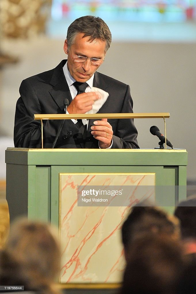 Prime Minister Jens Stoiltenberg of Norway speaks during the memorial service held at Oslo Catehedral for the victims of the recent terrorist attacks...
