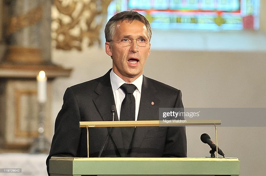 Prime Minister Jens Stoltenberg of Norway speaks at the memorial service held at Oslo Catehedral for the victims of the recent terrorist attacks on...