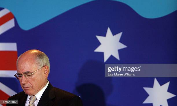 Prime Minister John Howard attends a Liberal Party press conference November 15 2007 in Cairns Australia John Howard announced as a reelected...
