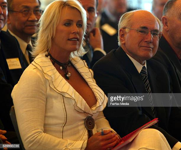 Prime Minister John Howard woth Lisa Curry Kenny at the launch of nominations for the Australian of the Year at the Sydney Opera House Howard was...