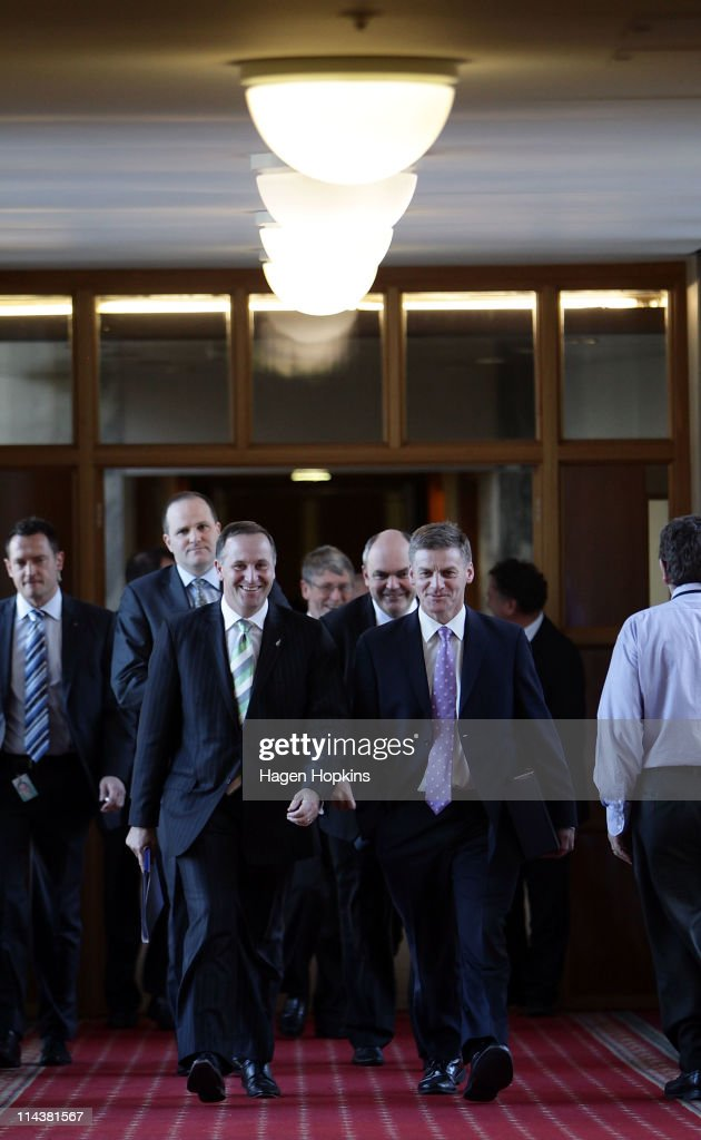 Prime Minister John Key and Finance Minister Bill English make their way to the House for the reading of the budget at Parliament House on May 19...
