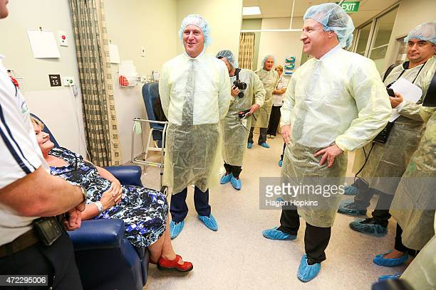 Prime Minister John Key and Health Minister Dr Jonathan Coleman meet hospital patient Mrs Kennedy at Kenepuru Hospital on May 6 2015 in Wellington...