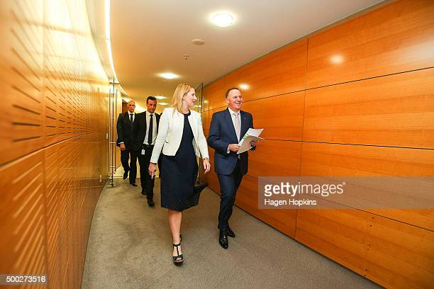 Prime Minister John Key arrives during a press conference at The Beehive on December 7 2015 in Wellington New Zealand Maureen Pugh replaces Tim...