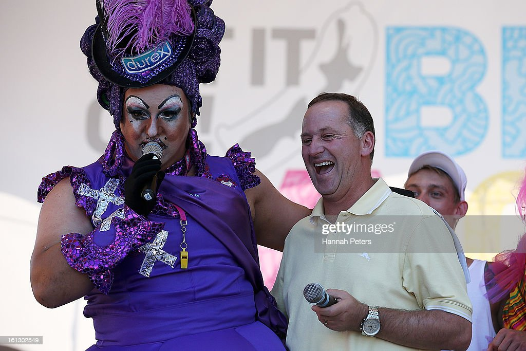 Prime Minister <a gi-track='captionPersonalityLinkClicked' href=/galleries/search?phrase=John+Key&family=editorial&specificpeople=2246670 ng-click='$event.stopPropagation()'>John Key</a> is introduced to the crowd at the Big Gay Out at Coyle Park on February 10, 2013 in Auckland, New Zealand. Big Gay Out is the largest annual gay and lesbian festival in New Zealand.
