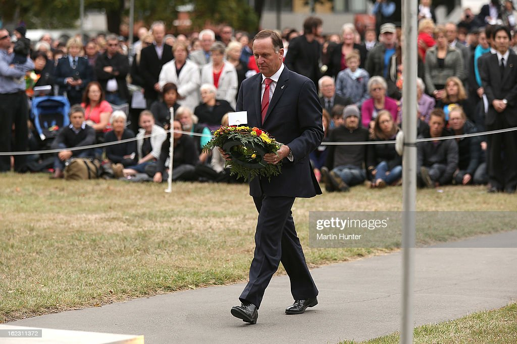 Prime Minister <a gi-track='captionPersonalityLinkClicked' href=/galleries/search?phrase=John+Key&family=editorial&specificpeople=2246670 ng-click='$event.stopPropagation()'>John Key</a> lays wreath during the memorial service marking the second anniversary of the Christchurch Earthquakes on February 22, 2013 in Christchurch, New Zealand. On February 22, 2011, a 6.3 magnitude earthquake hit Christchurch which, along with several aftershocks, killed 185 people.