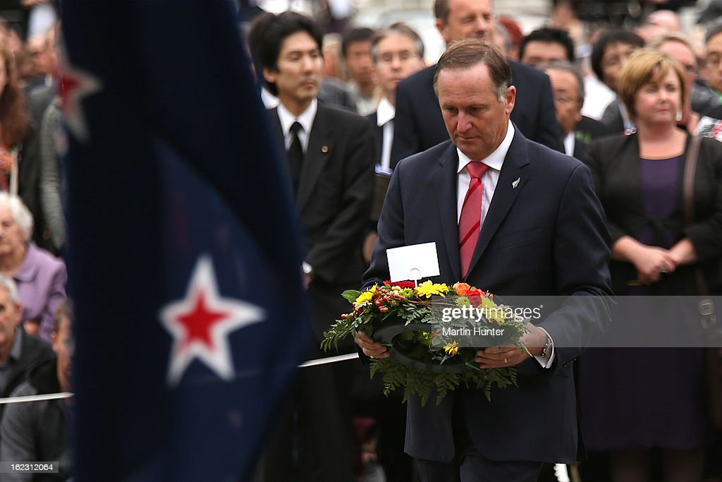 Prime Minister <a gi-track='captionPersonalityLinkClicked' href=/galleries/search?phrase=John+Key&family=editorial&specificpeople=2246670 ng-click='$event.stopPropagation()'>John Key</a> lays wreath during the memorial service marking the second anniversary of the Christchurch Earthquakes on February 22, 2013 in Christchurch, New Zealand. On February 22nd, 2011 a 6.3 magnitude earthquake hit Christchurch which along with several after shocks killed 185 people.