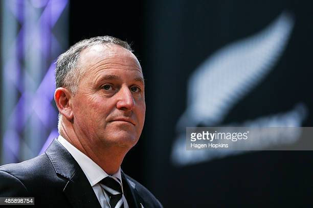 Prime Minister John Key looks on during the New Zealand All Blacks Rugby World Cup team announcement at Parliament House on August 30 2015 in...
