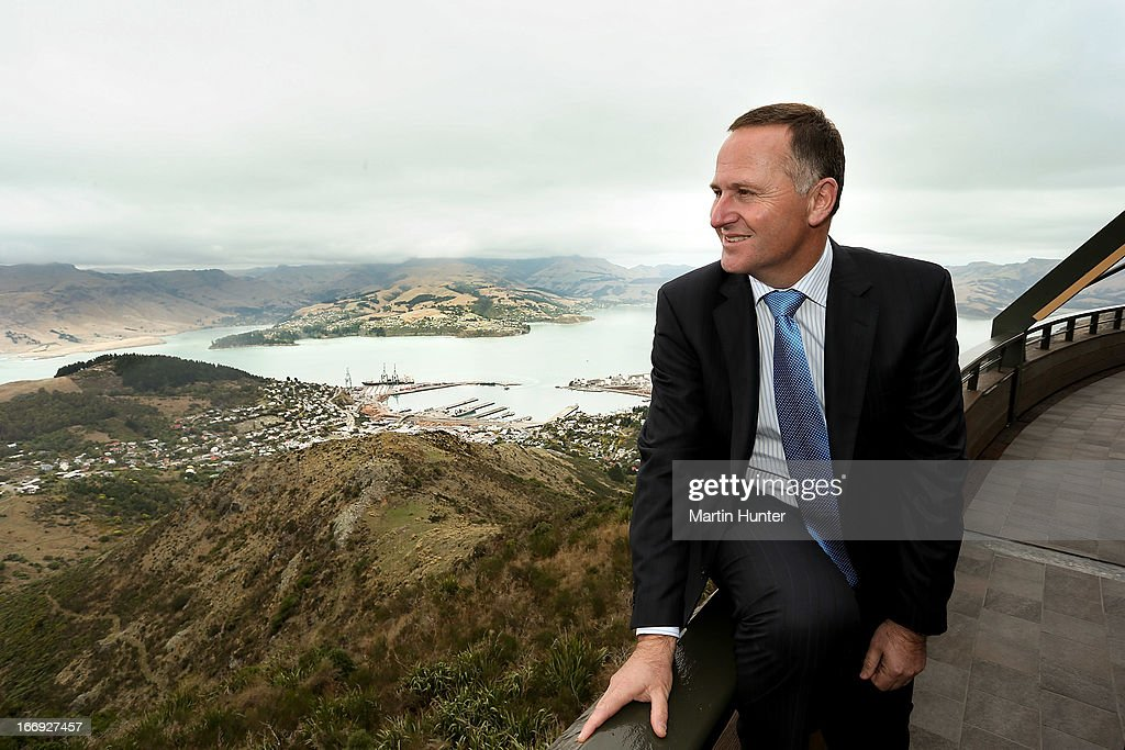 Prime Minister John Key looks out at the view from the re-opening of the Christchurch gondola on April 19, 2013 in Christchurch, New Zealand. The gondola was closed following the 2011 Christchurch earthquakes and has since undergone reconstruction before the official re-opening today.