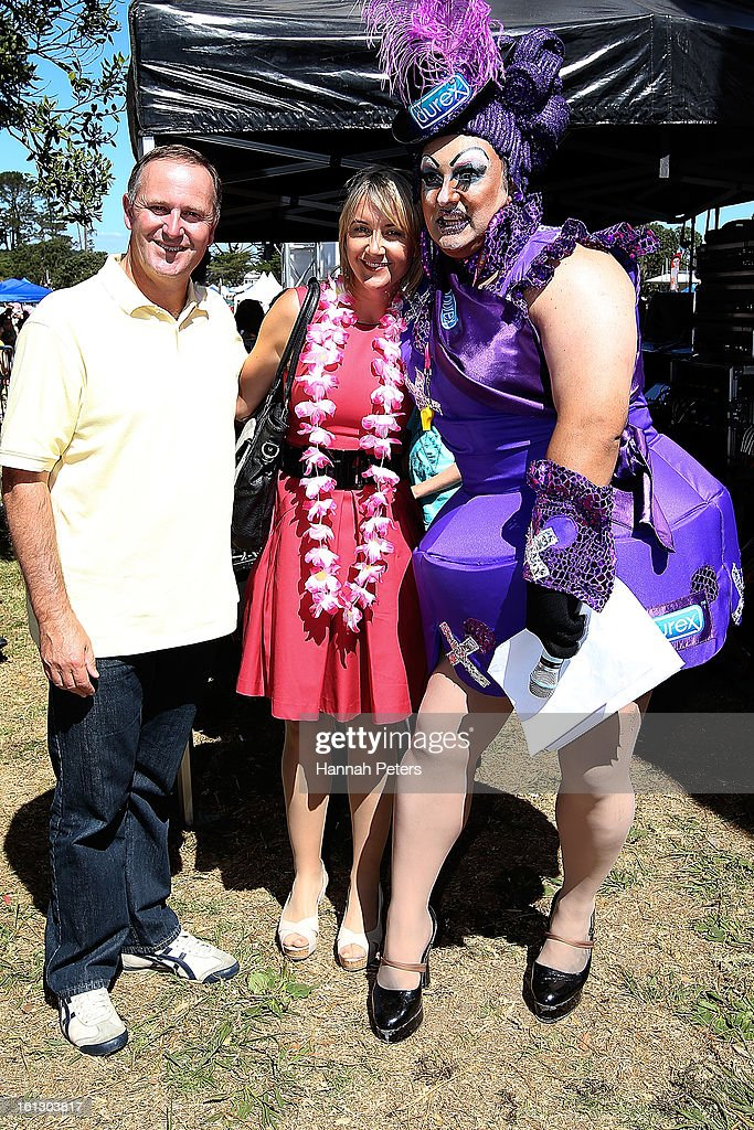 Prime Minister <a gi-track='captionPersonalityLinkClicked' href=/galleries/search?phrase=John+Key&family=editorial&specificpeople=2246670 ng-click='$event.stopPropagation()'>John Key</a> poses with member of parliment Nikki Kaye at the Big Gay Out at Coyle Park on February 10, 2013 in Auckland, New Zealand. Big Gay Out is the largest annual gay and lesbian festival in New Zealand.