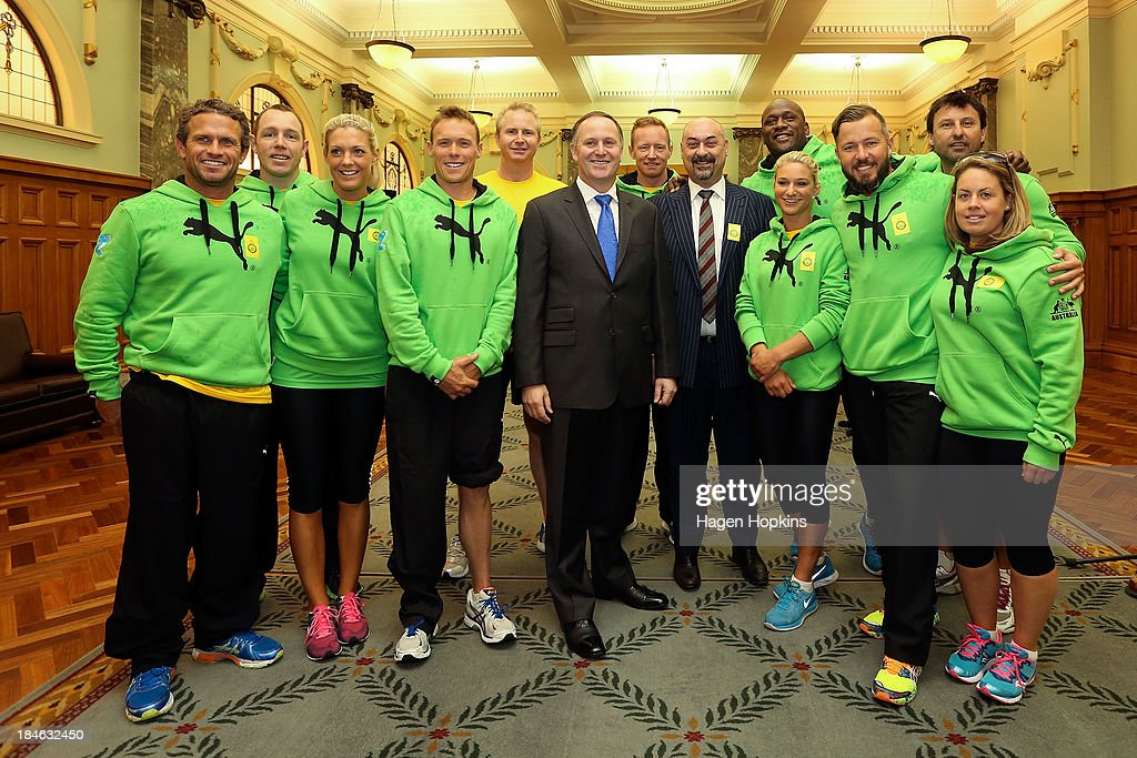 Prime Minister <a gi-track='captionPersonalityLinkClicked' href=/galleries/search?phrase=John+Key&family=editorial&specificpeople=2246670 ng-click='$event.stopPropagation()'>John Key</a> poses with members of the Australian team before the start of the ANZA Challenge on October 15, 2013 in Wellington, New Zealand.